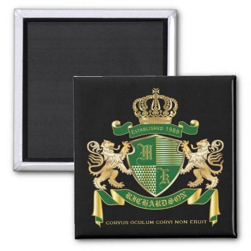 Make Your Own Coat of Arms Green Gold Lion Emblem Magnet