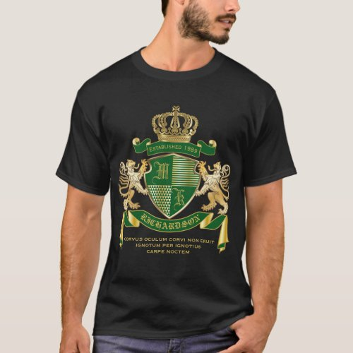 Make Your Own Coat of Arms Green Gold Lion Emblem T_Shirt
