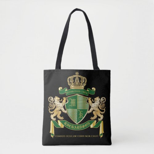 Make Your Own Coat of Arms Green Gold Lion Emblem Tote Bag