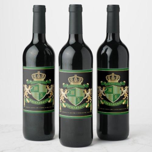 Make Your Own Coat of Arms Green Gold Lion Emblem Wine Label