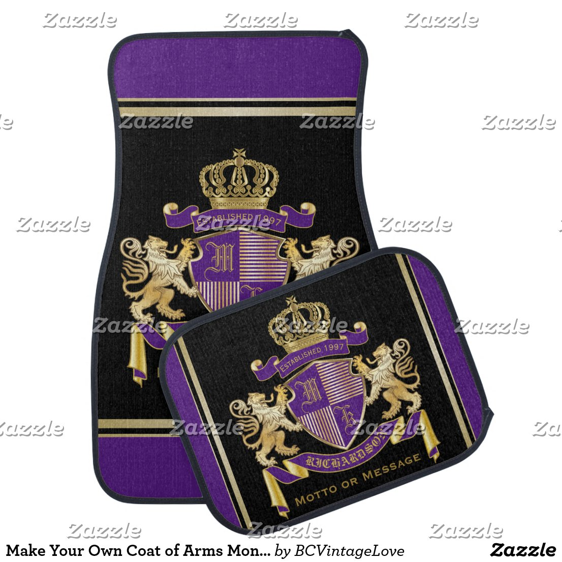 Make Your Own Coat of Arms Monogram Crown Emblem Car Mat