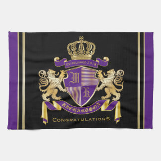 Make Your Own Coat of Arms Monogram Crown Emblem Kitchen Towel
