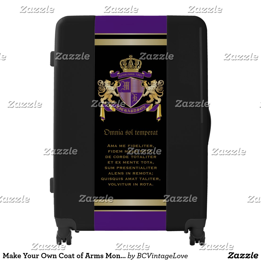 Make Your Own Coat of Arms Monogram Crown Emblem Luggage