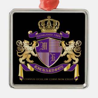 Make Your Own Coat of Arms Monogram Crown Emblem Metal Ornament
