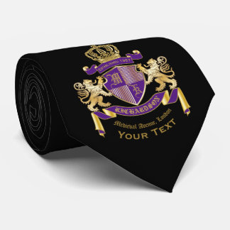 Make Your Own Coat of Arms Monogram Crown Emblem Neck Tie