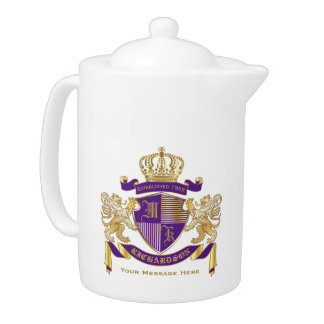 Make Your Own Coat of Arms Monogram Crown Emblem Teapot