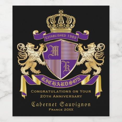 Make Your Own Coat of Arms Monogram Crown Emblem Wine Label