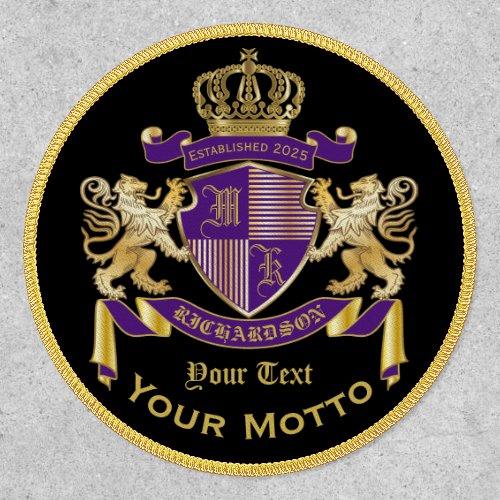 Make Your Own Coat of Arms Purple Gold Lion Emblem Patch