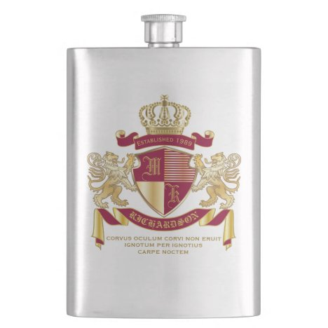 Make Your Own Coat of Arms Red Gold Lion Emblem Flask