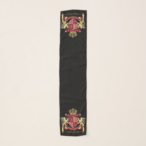 Make Your Own Coat of Arms Red Gold Lion Emblem Scarf