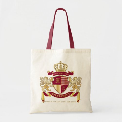 Make Your Own Coat of Arms Red Gold Lion Emblem Tote Bag