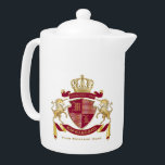 """Make Your Own Coat of Arms Red Gold Unicorn Emblem Teapot<br><div class=""""desc"""">Create your very own aristocratic Coat of Arms, Emblem, Insignia or Family Crest with this beautiful, classic escutcheon or shield design. Crimson red patterns decorate a shield topped with a golden crown and flanked by medieval heraldic unicorns. A matching top banner holds your custom wedding date / birth date /...</div>"""