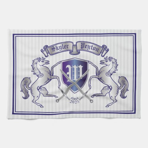 Make Your Own Coat of Arms Silver Horse Shield Hand Towel