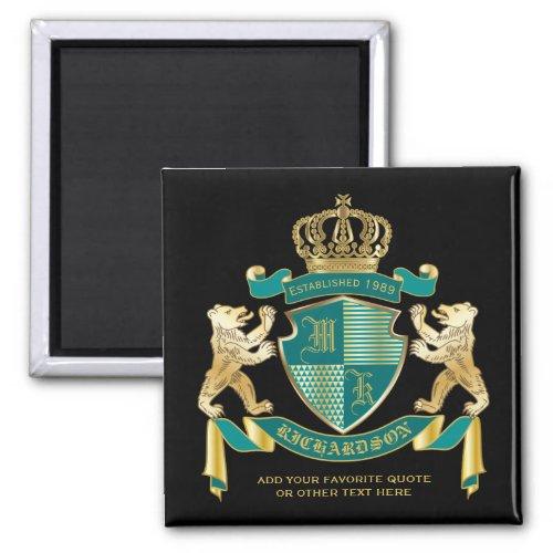 Make Your Own Coat of Arms Teal Gold Bear Emblem Magnet