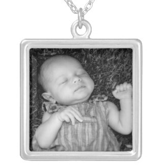 Make Your Own DIY Baby Photo Personalized Square Pendant Necklace