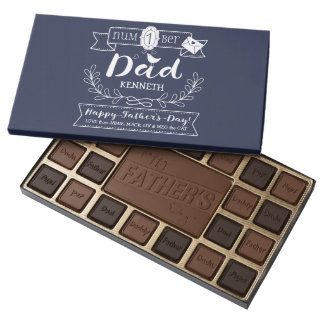 Make Your Own Father's Day No. 1 Dad Cute Monogram Assorted Chocolates