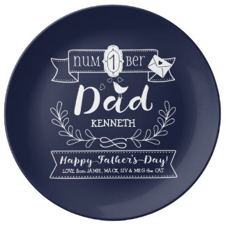 Make Your Own Father's Day No. 1 Dad Cute Monogram Dinner Plate