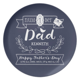 Make Your Own Father's Day No. 1 Dad Cute Monogram Melamine Plate
