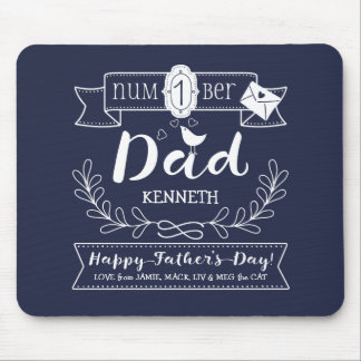 make your own day no 1 dad cute monogram mouse pad