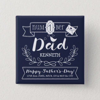 Make Your Own Father's Day No. 1 Dad Cute Monogram Pinback Button