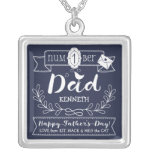 Make Your Own Father's Day No. 1 Dad Cute Monogram Silver Plated Necklace