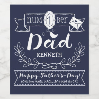 Make Your Own Father's Day No. 1 Dad Cute Monogram Wine Label