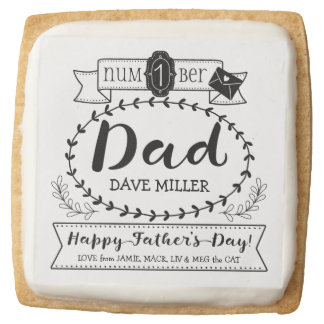 Make Your Own Father's Day Number 1 Dad Monogram Square Shortbread Cookie
