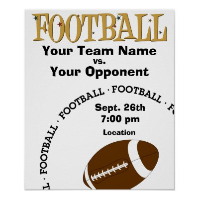 Poster on Make Your Own  Football Game Poster From Zazzle Com
