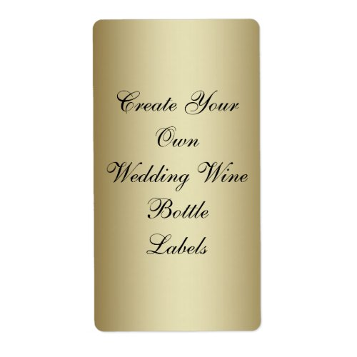 Make Your Own Gold Black Wedding Wine Bottle Label