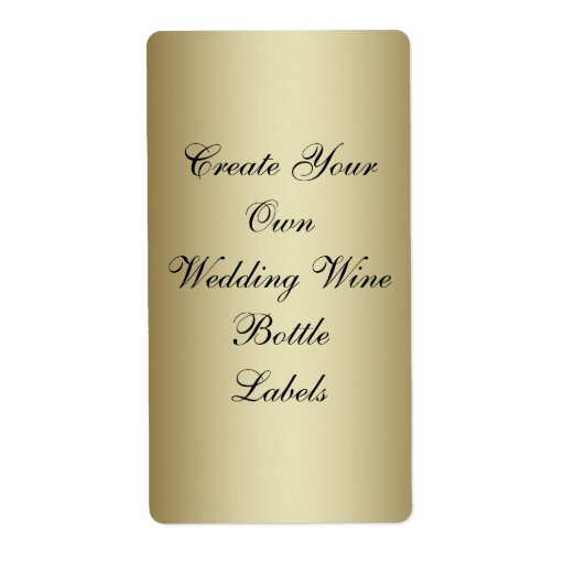 Make Your Own Gold Black Wedding Wine Bottle Personalized Shipping Label