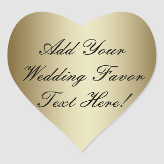 Make your own Gold Wedding Favor Heart Sticker