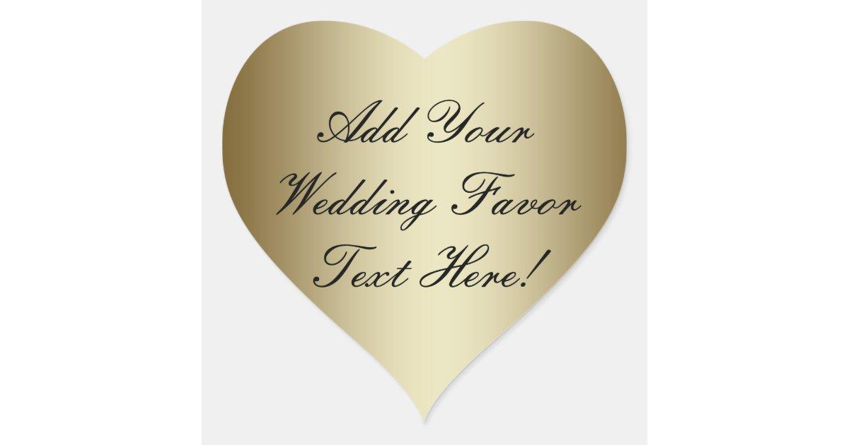 make your own gold wedding favor heart sticker zazzle