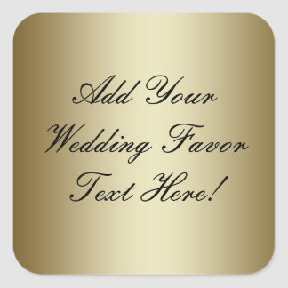 Make your own Gold Wedding Favor Square Sticker