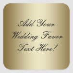 Make your own Gold Wedding Favor Square Stickers