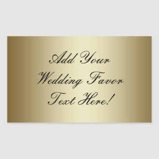 Make your own Gold Wedding Favor Rectangular Sticker