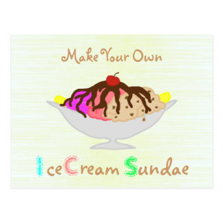 Make Your Own Ice Cream Sundae Party Invitation Postcard