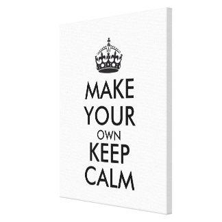 Make your own keep calm - black canvas print