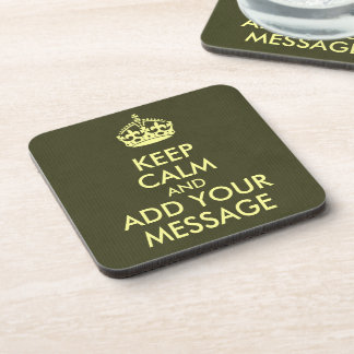 Make Your Own Keep Calm Olive Green Kraft Paper Drink Coaster