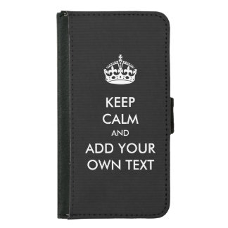Make Your Own Keep Calm Product Black White Wallet Phone Case For Samsung Galaxy S5
