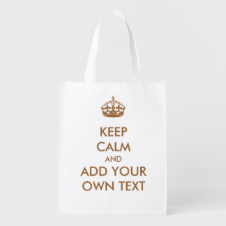 Make Your Own Keep Calm Product Brown Kraft Paper Market Totes