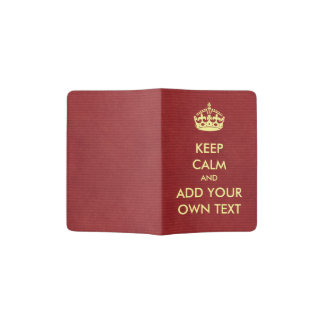 Make Your Own Keep Calm Product Red Yellow Passport Holder