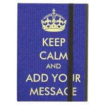 Make Your Own Keep Calm Royal Blue Kraft Paper iPad Air Cover
