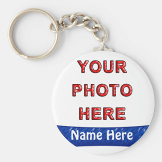 Make Your Own Keyrings Online with Photo & Name Basic Round Button Keychain