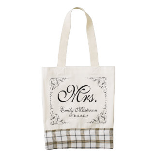 Make Your Own Mr Mrs His Hers Wedding Monogram Zazzle HEART Tote Bag