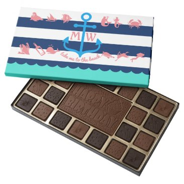 Beach Themed Make Your Own Nautical Summer Fun Anchor Stripes 45 Piece Box Of Chocolates