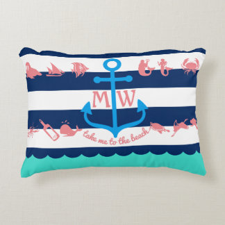 Make Your Own Nautical Summer Fun Anchor Stripes Accent Pillow