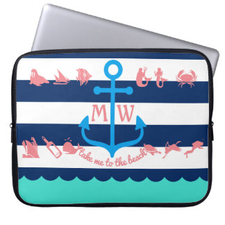 Make Your Own Nautical Summer Fun Anchor Stripes Computer Sleeve