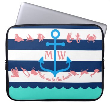 Beach Themed Make Your Own Nautical Summer Fun Anchor Stripes Computer Sleeve