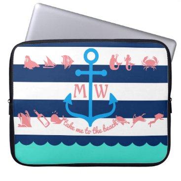Beach Themed Make Your Own Nautical Summer Fun Anchor Stripes Computer Sleeve