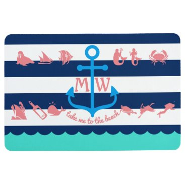 Beach Themed Make Your Own Nautical Summer Fun Anchor Stripes Floor Mat